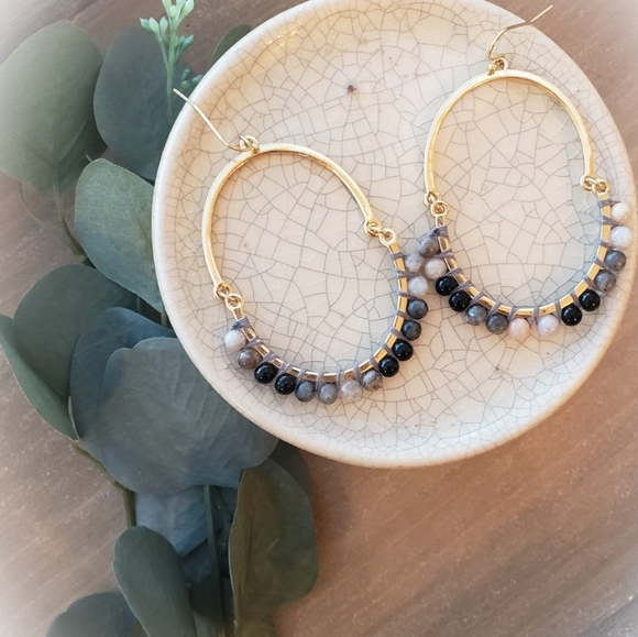 Anthro Natural Stone Drop Earrings